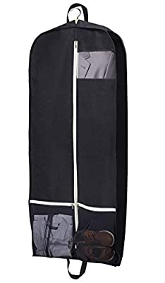 "SLEEPING LAMB 43"" Gusseted Travel Garment Bag Breathable Suit Garment Cover Protector with Accessories Zipper Pockets for Dance Costumes Shirt Dresses Coats, Black"