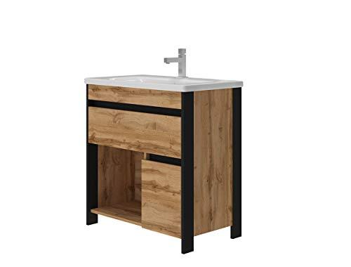 Bronx Waschtisch MONTIERT inklusive Ablaufgarnitur | Syphon | Waschbecken aus Keramik | Schwarz mit Eiche Optik | Soft-Close Funktion | Waschbecken mit Unterschrank | Montagefertig |