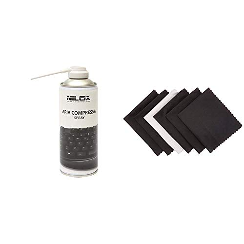 Nilox NXA02061-1 Bomboletta Spray Aria Compressa per Pulizia Computer, Tastiere e Accessori & Amazon Basics - Panni in microfibra per dispositivi elettronici, confezione da 6