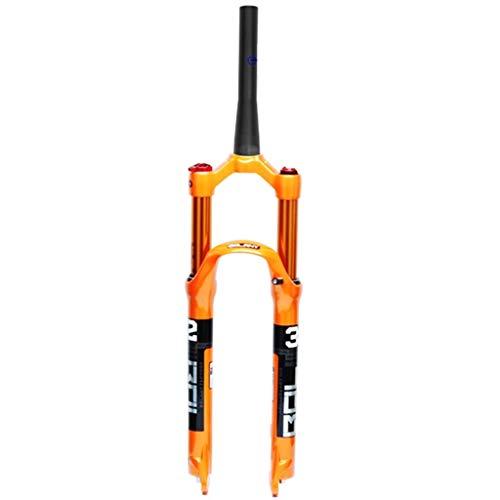 LSRRYD MTB Fahrradgabel 26 27,5 29 Zoll Luftstoßdämpfer Fahrrad-Federgabel Straight/Cone Tube Schulter/Fernbedienung Scheibenbremse Federweg 100mm QR 9mm (Color : C, Size : 29inch)