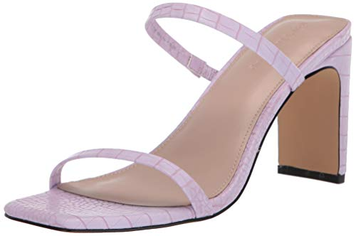 The Drop Women's Avery Square Toe Two Strap High Heeled Sandal, Lilac, 6