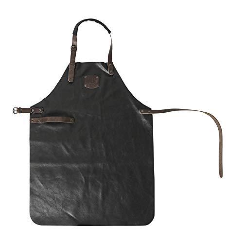 Profi Lederschürze Grillschürze Küchenschürze Backschürze Kochschürze, Echtleder, ca. 81 x 59 cm, schwarz/dunkelbraun