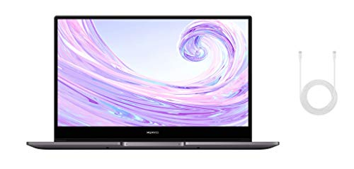 HUAWEI MateBook D 14 Zoll Laptop, FullView 1080p Full HD Ultrabook, 512GB PCIe SSD+8GB RAM, AMD Ryzen 5 3500U, Fingerabdrucksensor, versteckbare Kamera, Windows 10 Home-Grau+USB-C-Kabel
