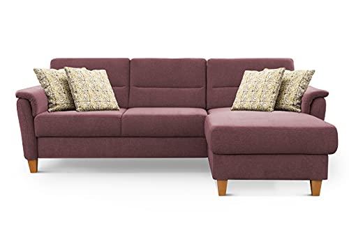 CAVADORE Ecksofa Palera / Federkern-Sofa in L-Form im Landhausstil / 244 x 89 x 163 / Chenille-Bezug, Dunkelrot