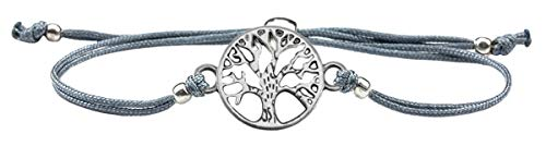 Milosa Armband Frauen Lebensbaum Silber - Handmade - größenverstellbares Textil-Band - Armkette - bracelet - Geschenk, Armbänder Makramee:Grau