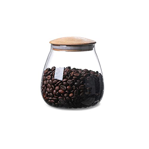 MOLADRI 400ML/13Oz Clear Cute Glass Storage Canister Holder with Airtight Bamboo Lid, Round Modern Decorative Small Container Jar for Coffee, Spice, Candy, Salt, Cookie, Condiment, Pepper, Sugar