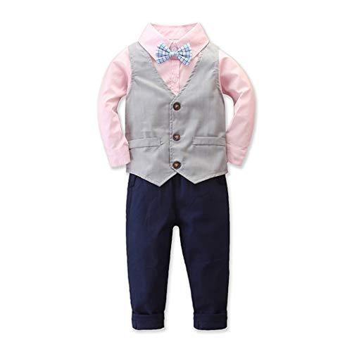 Luotuo Jungenanzug Kind Dreiteiliger Anzug Revers Langarmshirt mit Fliege + Hosen + Knopf Weste Neu Slim Fit Kinderanzug Mode Schöner Junge
