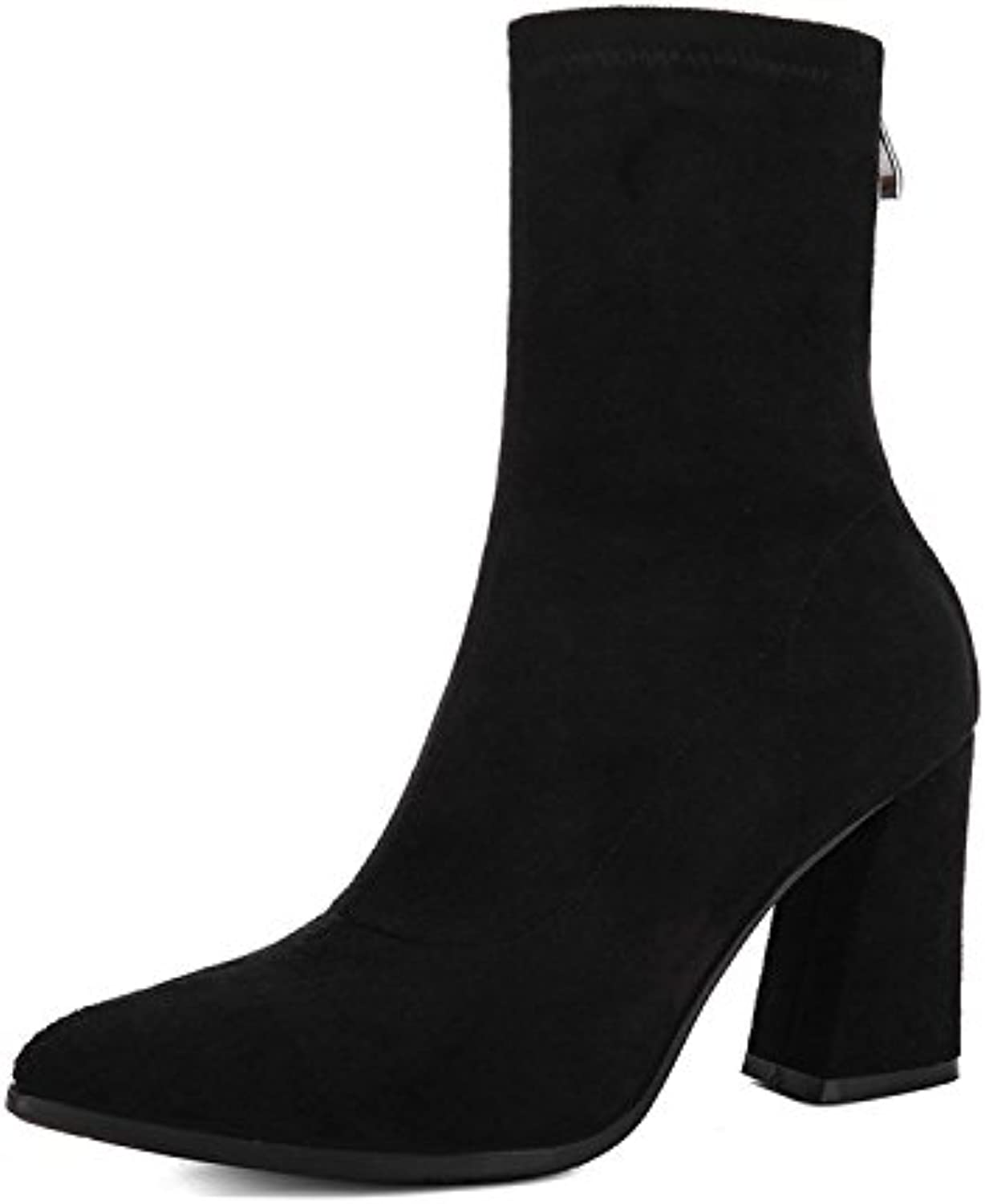 WYMBS Women's shoes Rough with Short Boots Autumn Winter Elasticity Stovepipe Pointed High-Heel Boots,Black,34