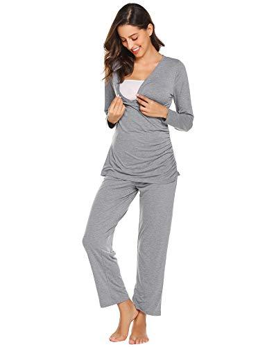 MAXMODA Damen Stillpyjama Sommer Umstandspyjama Set Baumwolle Still-Schlafanzug mit Langarm Shirt und Lang Hose, Grau, S