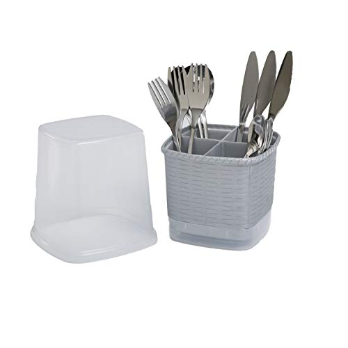 CELESTE HOME PRODUCTS Rattan Cutlery holder with cover, Cutlery Storage Organizer Caddy Bin forkitchen Cabinet or Pantry. Basket Organizer for Forks, Knives, Spoons, Napkins. Available in gray