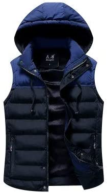 LYLY Vest Women Men Jacket Vest Mens Winter Hooded Sleeveless Men Waistcoat Two Color Matching Slim Warm Thick Hommes Vest Vest Warm (Color : Dark Blue, Size : XXS)
