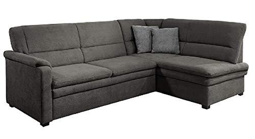 Cavadore Ecksofa Pisoo mit Ottomane rechts L-sofa, mit Federkern im klassischen Design, 245 x 89 x 161, Flachgewebe Grau