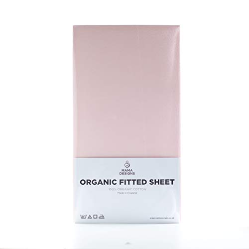 Mama Designs Organic Cotton Fitted Cot Sheet (Pink, Cot 120x60cm)