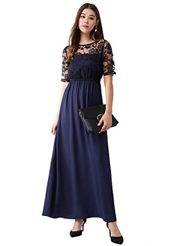 Miss Olive Women's Polyester A-Line Maxi Dress (MOAW18D30-31-71_Navy Blue_S)