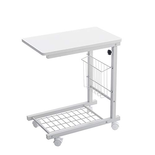 INMOZATA Overbed Table Adjustable Height Side Table Storage Sofa Table Metal Frame with Wheels for Living Room Bedroom (White)