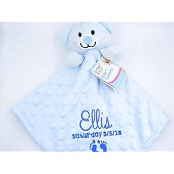Personalised Embroidered Baby Girl Boy Dimple Luxury 3D Teddy Bear Comforter Blanket Blankie Gift Keepsake Blue 3D Teddy Bear