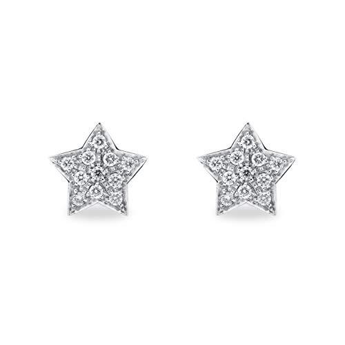 B.&C. Gioielli Orecchini donna a forma di stella oro bianco 18KT (750) e diamanti GVS