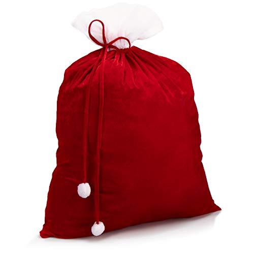 com-four® Edler XXL Weihnachtssack aus Samt mit roter Kordel, weißen Bommeln - Geschenksack Weihnachten (1 Stück - rote Kordel)