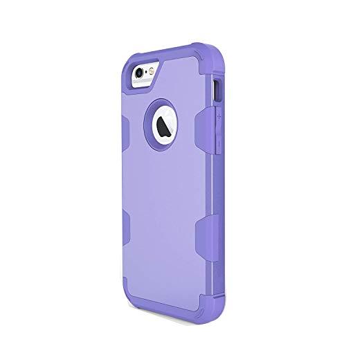 Funda iPhone 6S / 6 Plus, iPhone 6 / 6S Carcasa Cover Case 3 en 1 Hybrid Duro PC + Silicona Suave Interior Anti-Golpes Protectora Case (iPhone 6 / 6S, Morado)