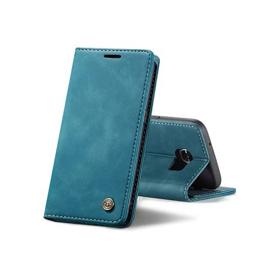 Chocoyi Kompatibel mit Samsung Galaxy S7 Edge Hülle Leder,Magnetverschluss Premium PU Leder Flip Hülle,Standfunktion.-Blau