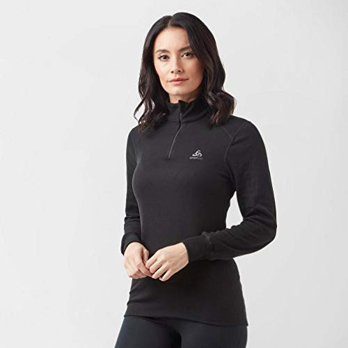 Odlo Damen Long Sleeve Turtle Neck Langarmshirt, Schwarz, M