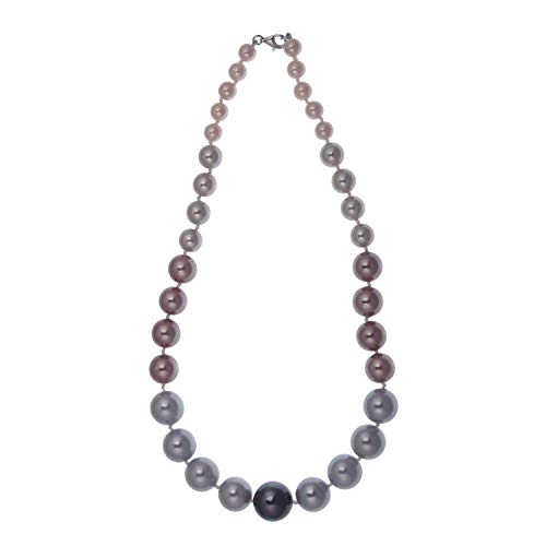 Perlen-Kette im Verlauf aus 925 Sterling Silber mit Muschelkern-Perlen rosa grau 45 cm lang Damen Halskette