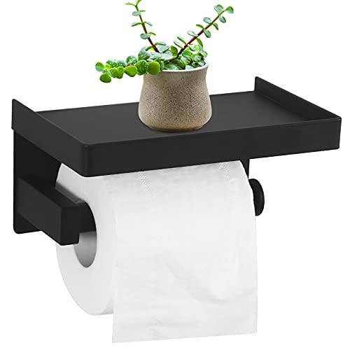 Portarrollos de papel higiénico con agujeros y estante, soporte para rollos de papel higiénico, montaje en pared, para cocina y cuarto de baño, color negro, acero inoxidable, autoadhesivo SUS304