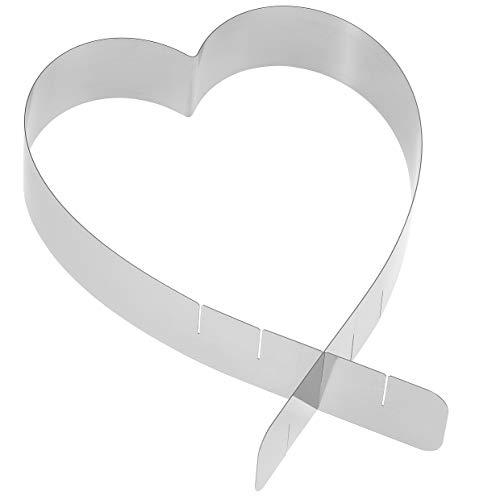 Herz Tortenring – Edelstahl, Made in Germany – Tortenring Herz verstellbar, 4 Größen – kann als Backform Herz verwendet werden oder zum Dekorieren von Kuchen und Torten für Lieblingsmenschen