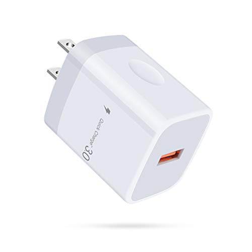 Wall Charger, 18W Quick Charge 3.0 Single Port USB Power Adapter Plug Fast Charging Block Box Compatible Samsung Galaxy A21s Note20 A71 A51 A31 S10 S9 S8, iPhone SE (2020) 11, LG V70 V50 V40 V35 ThinQ