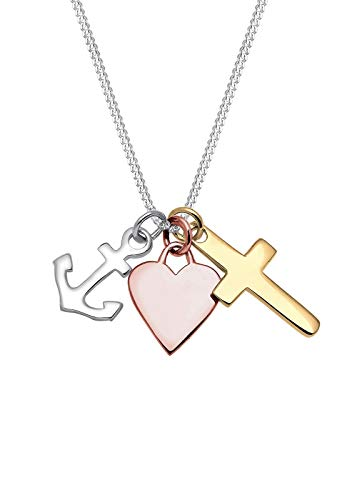 Elli Halskette Damen Tri-Color Anker Herz Kreuz Anhänger in 925 Sterling Silber