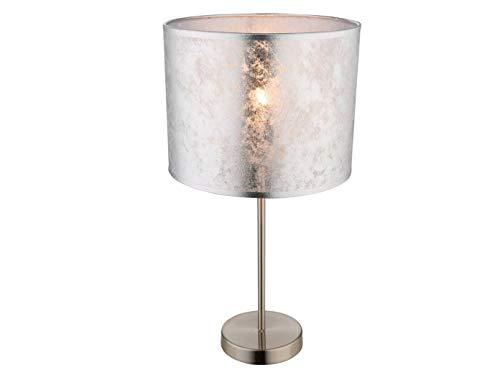 Tischlampe Hockerleuchte AMY I mit LED, 50cm hoch, Stoffschirm silber marmoriert Ø 26cm