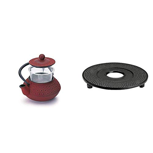 IBILI Hanoi Tetera, 0.3 litros, Rojo + 621000 Reposateteras Plano Negro