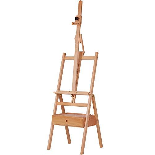 aballete MEEDEN con marco en H inclinable hacia adelante con cajón de almacenamiento – ajustable (58'~75') caballete de madera de haya sólida para artistas, estudiantes y principiantes,