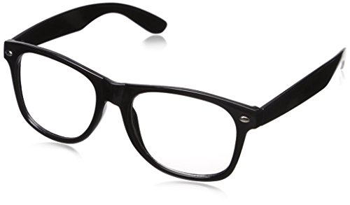Black Frame Clear Lens 80s Style Nerd Glasses for Adults