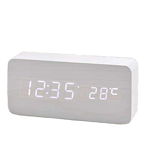 Velpeak Batteriewecker Nachttischwecker Digitaler Wecker LED Elektronische Wecker USB Würfel Holz Einstellbare Helligkeit Multifunktional (Weiß + Weißlicht)