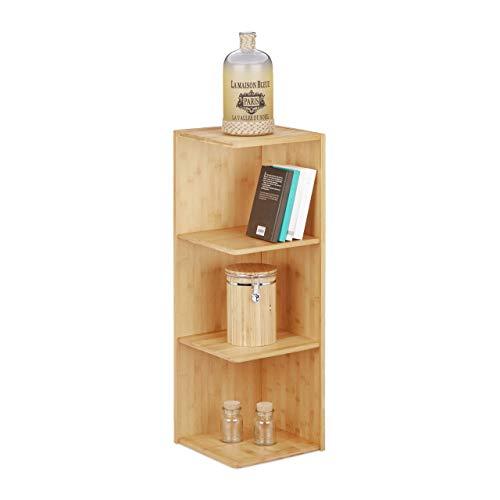 Relaxdays Eckregal Bambus, 3 Ablagen HxBxT: 85,5 x 29 x 29 cm, Bücherregal, Küchenregal,...