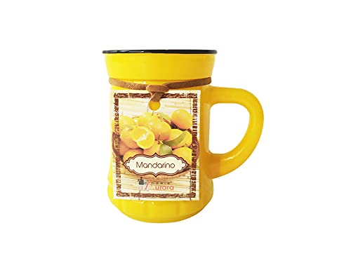 Candele D'Aurora Marta Candela Profumata in Vaso di Vetro Colorato con Manico, Cera vegetale, Giallo, 6.9x5x7.2 cm