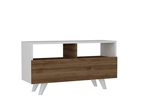 Alphamoebel 2459 Novella K3 TV Lowboard Board Schrank Fernsehtisch Fernsehschrank Holz, Weiß Walnuss matt, mit Tür, 90 x 39 x 29,5 cm