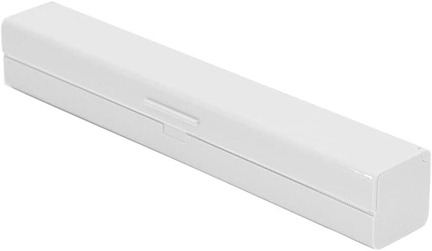 Gona Plastic Wrap Dispenser with Cutter, Refillable Cling Film Dispenser, Kitchen Aluminum Foil/Foil Wax Paper Practical Cutting Tool 12.48in (White)