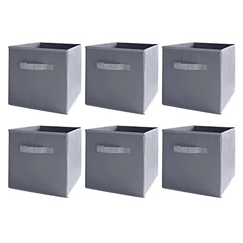 BAAB ORGANIZING 6Pack Foldable Cube Storage Box, Organiser Basket Containers with Handles, for Home Office Nursery Gym (Grey)
