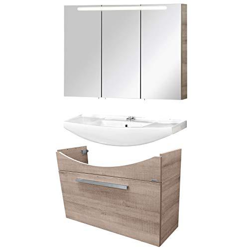 FACKELMANN braunes Badmöbel Set A-Vero 3-TLG. 100 cm Waschtisch Unterschrank & Keramikbecken & Spiegelschrank