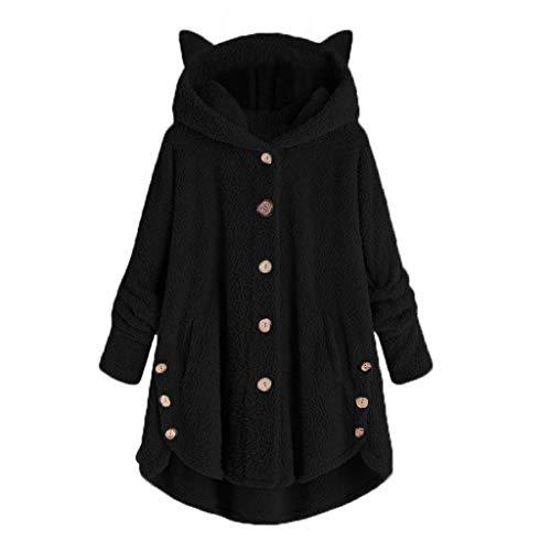 TOPSELD Frauen-Knopf-Mantel SolidTops mit Kapuze Pullover-lose Strickjacke Bluse Plus Größe