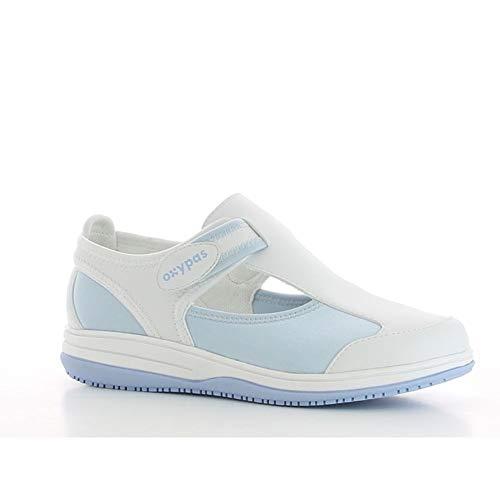 Oxypas Medilogic Candy Slip-resistant, Antistatic Nursing Shoes in White with Light Blue Size 39 EU (6 UK)