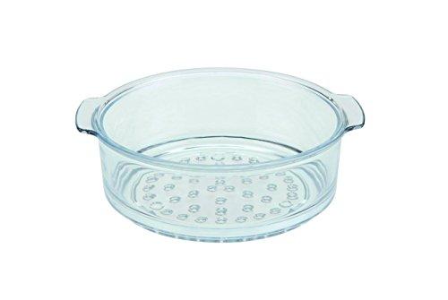 SKK 06020 Dünsteinsatz / Dampfgarer aus Glas, rund, ø 20 cm, universal für Kochtopf und Bratentopf einsetzbar, schonendes Zubereiten von Gemüse und Babynahrung