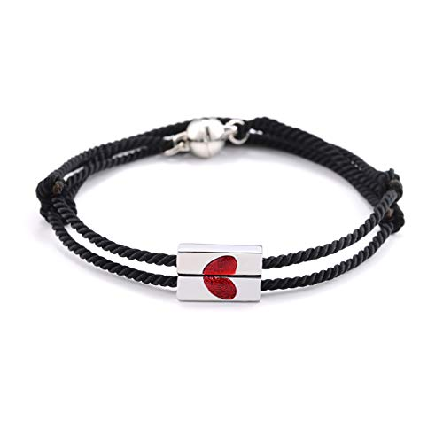 YELUWA Love Heart Magnetic Couple Bracelets Mutual Attraction Mom Daughter Sister BFF Friendship Boyfriend Girlfriend Best Friend Handmade Braided Rope for Men Women Teen Girl Gift Him Her 2Pcs Black