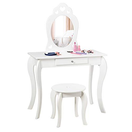 COSTWAY Kinder Schminktisch, Make-up Tisch mit Hocker und abnehmbarem Spiegel, Frisierkommode Holz, Mädchen Frisiertisch mit Schublade 70x34x105cm (Weiß)