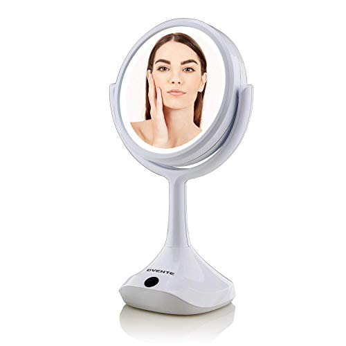 Ovente Lighted Vanity Table Top Makeup Mirror 6 Inch 1X 5X Magnifier 360° Rotating LED Double Sided 3 AA Battery Micro USB Adapter Operated Desk Stand Personal Beauty Circular Large White MMT06W1X5X