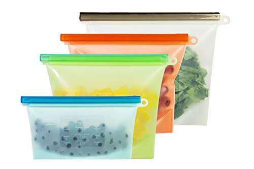 Silicone Storage Bags - Reusable Silicone Food Bag For Fruits, Snacks, Meats, Liquid   Eco Friendly, Airtight Seal, Dishwasher Safe Silicone Food Storage Bag for Cooking and Preservation (Pack of 4)