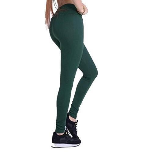 Dreamskull Leggings Jeggings Treggings Bleistifthose Stretchhose Damen Mädchen Hose Lang High Waist Skinny Slim Fit Yoga Joggingshose, L, Dunkelgrün