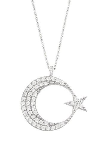 Remi Bijou - 925 Sterling Silber - Wunderschöne Halskette Kette Anhänger Zirkonia Strass Stern Ay Yildiz Mond Star Crescent